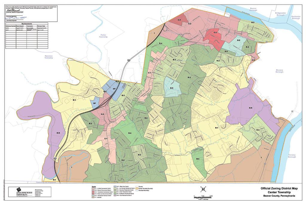Center Township Pennsylvania Official Center Township Zoning District Map